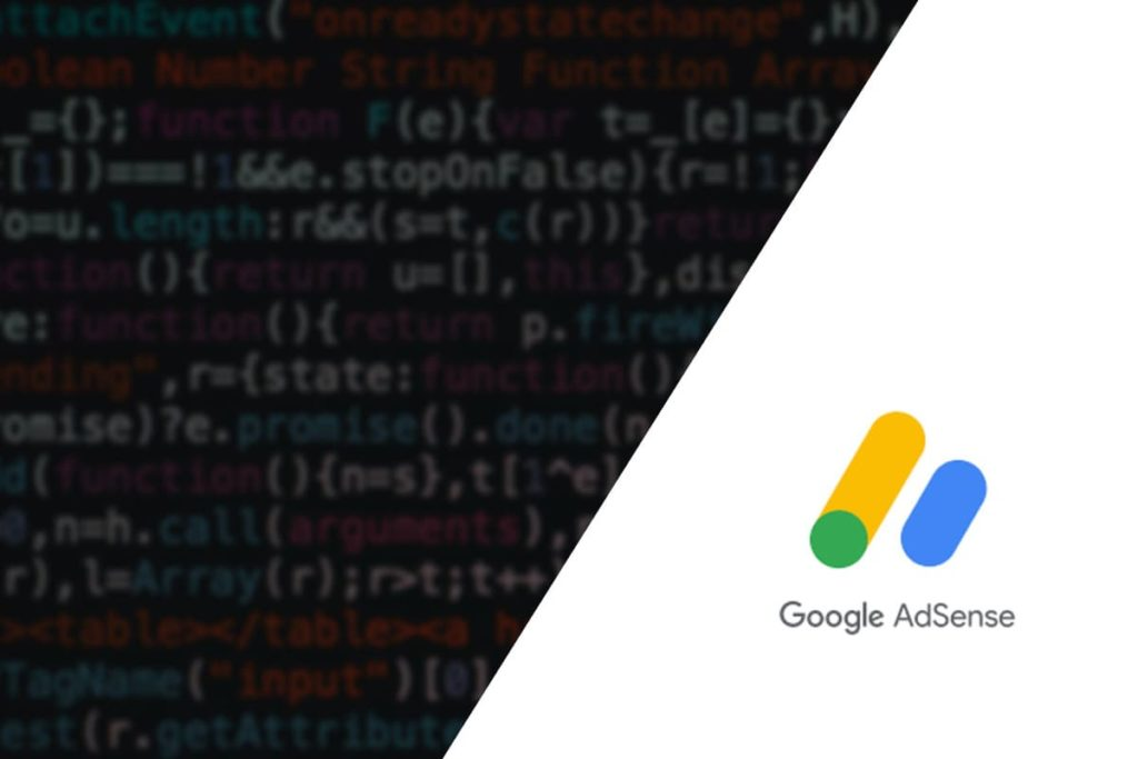 Featured image showing code and adsense logo - post about How to Add AdSense to WordPress
