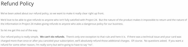Income School Project 24 Refund Policy clearly states no refunds on the purchase of Project 24 - Income School Project 24 Review By A Current Student