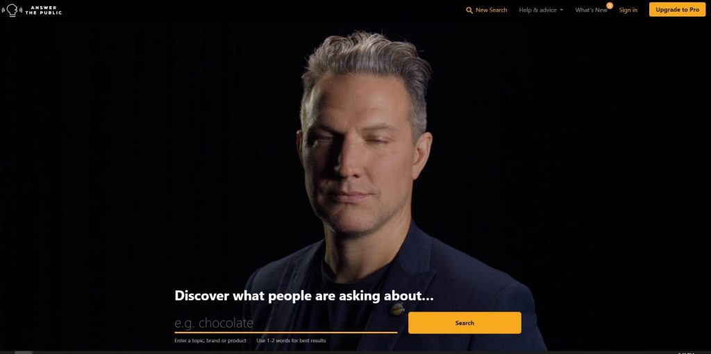 AnswerThePublic main page is always a video of a person yammering - How to Find Keywords for SEO for Free