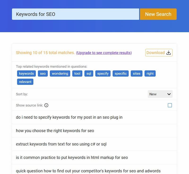 """QuestionDB Test search for """"keywords for SEO"""" and the top results - How to Find Keywords for SEO for Free"""