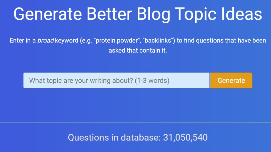 QuestionDB Homepage for the website - How to Find Keywords for SEO for Free